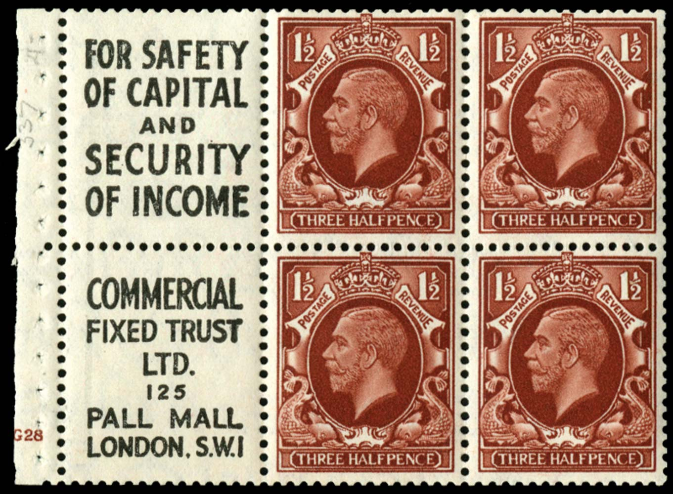 GB 1934  SG441e Booklet pane