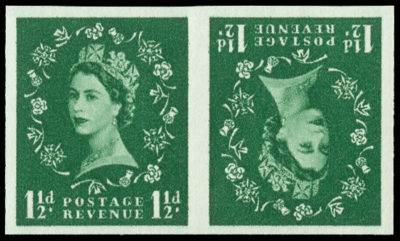 GB 1955  SG542var Mint imperforate tête-bêche pair of imprimaturs