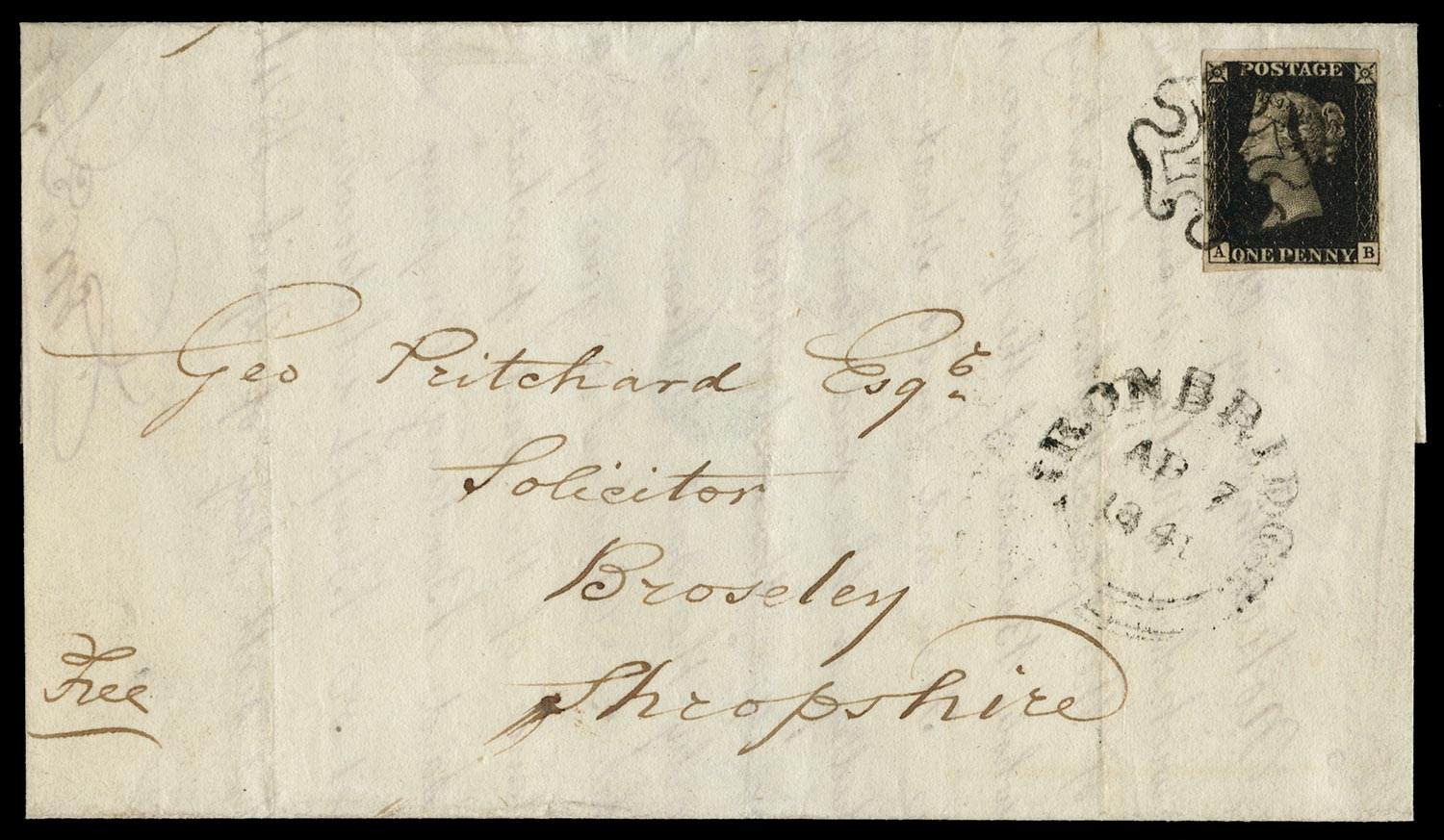 GB 1840  SG1 Pl.8 Penny Black on cover