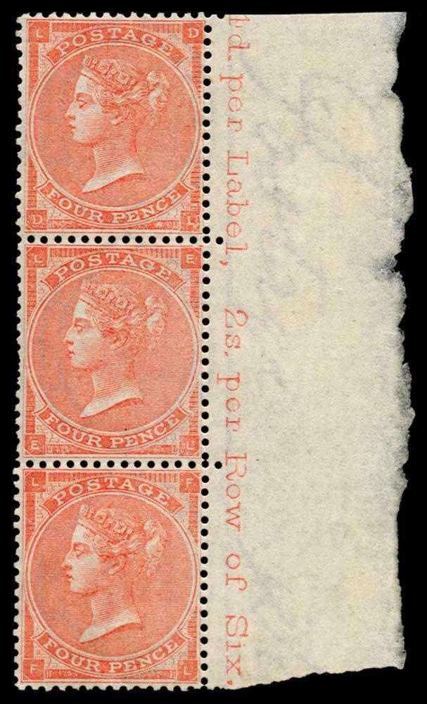 GB 1863  SG82wi Pl.4 Mint