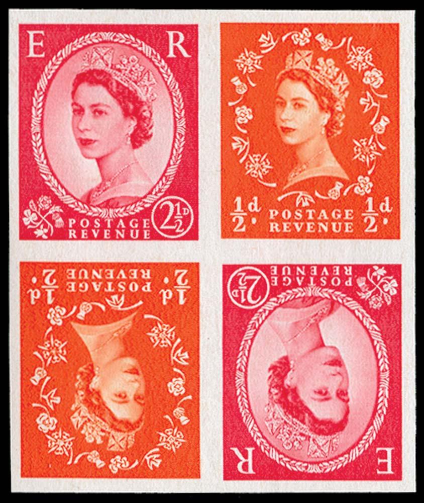 GB 1963  SG570m var Mint - tête-bêche block imperforate imprimaturs