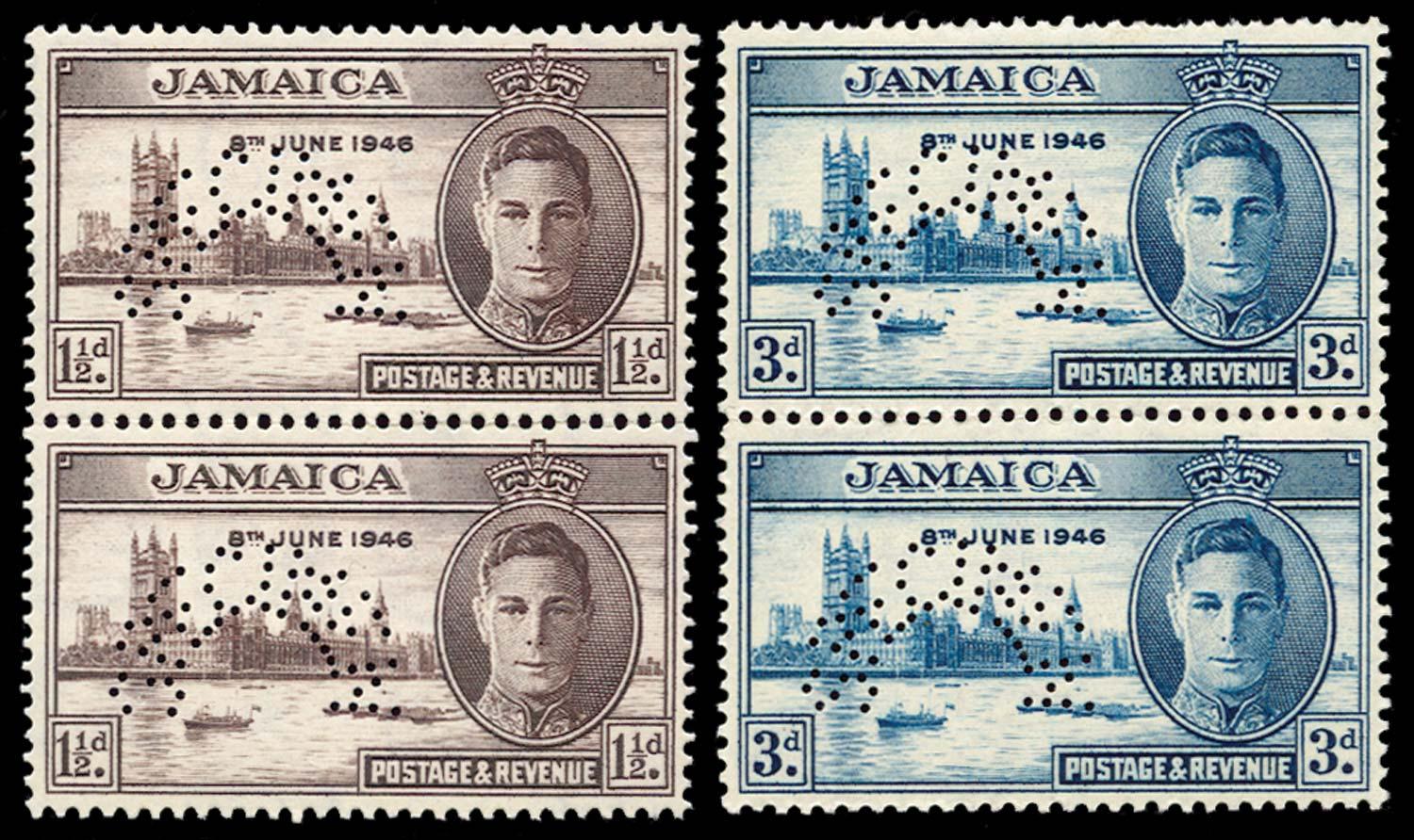 JAMAICA 1946  SG141s/2s Specimen