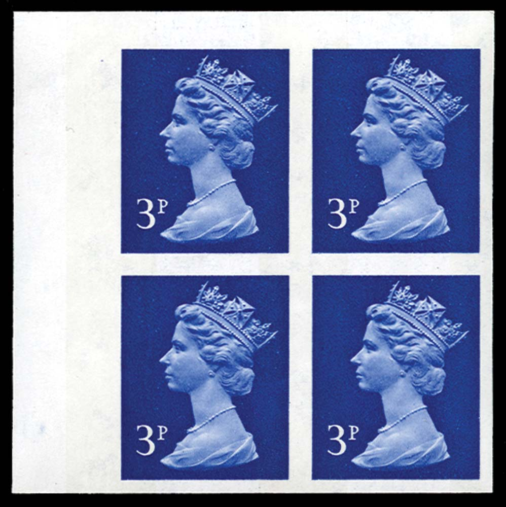 GB 1972  SGX855b Mint imperf block of four