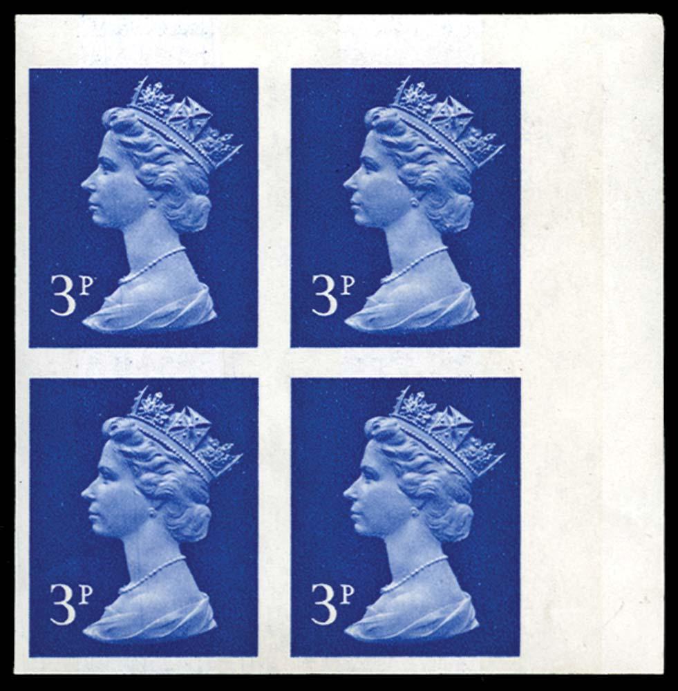 GB 1972  SGX855b Mint imperf block of four