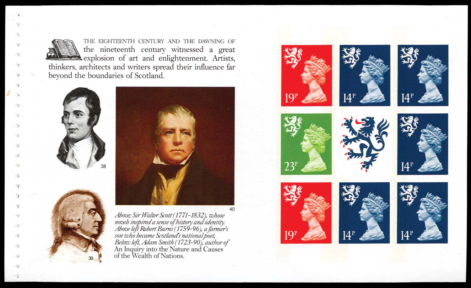 GB 1989  SGS55la Booklet pane (imperforate)