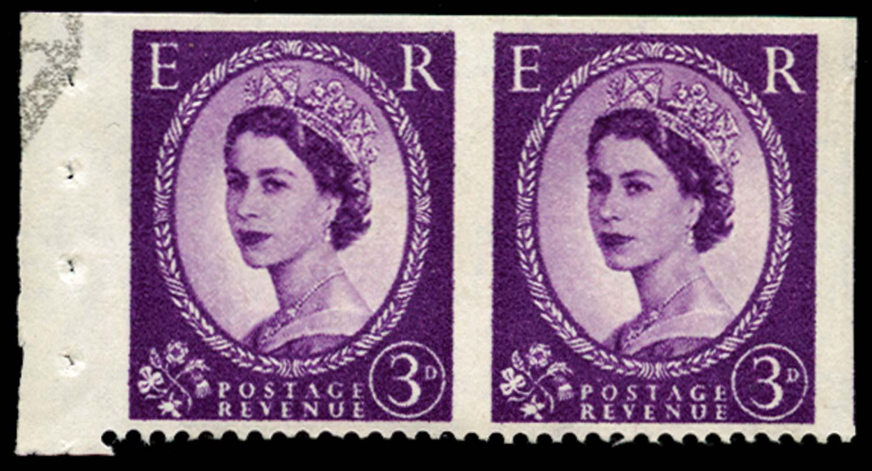 GB 1958  SG575var Mint imperf three sides