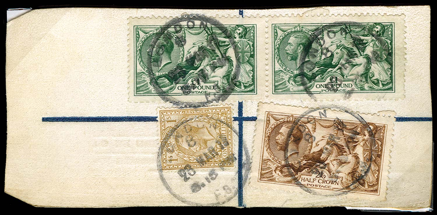 GB 1917  SG403, 405 Used on diplomatic bag label
