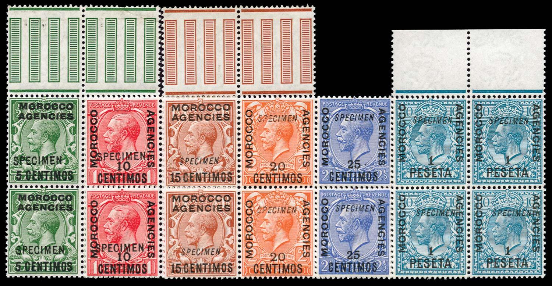MOROCCO AGENCIES 1914  SG129/33,135 Specimen