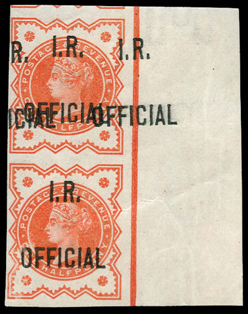 GB 1888  SGO13b/c Official Imperforate - overprint double