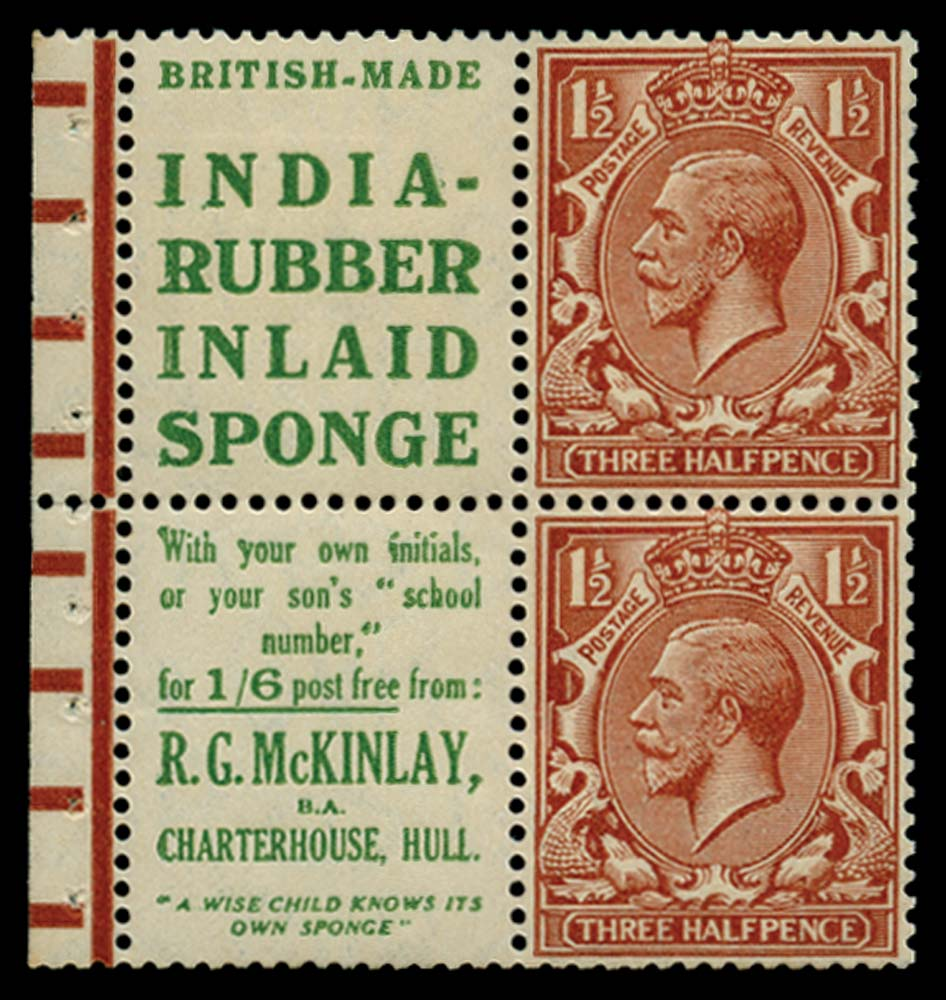 GB 1924  SG420d Booklet pane
