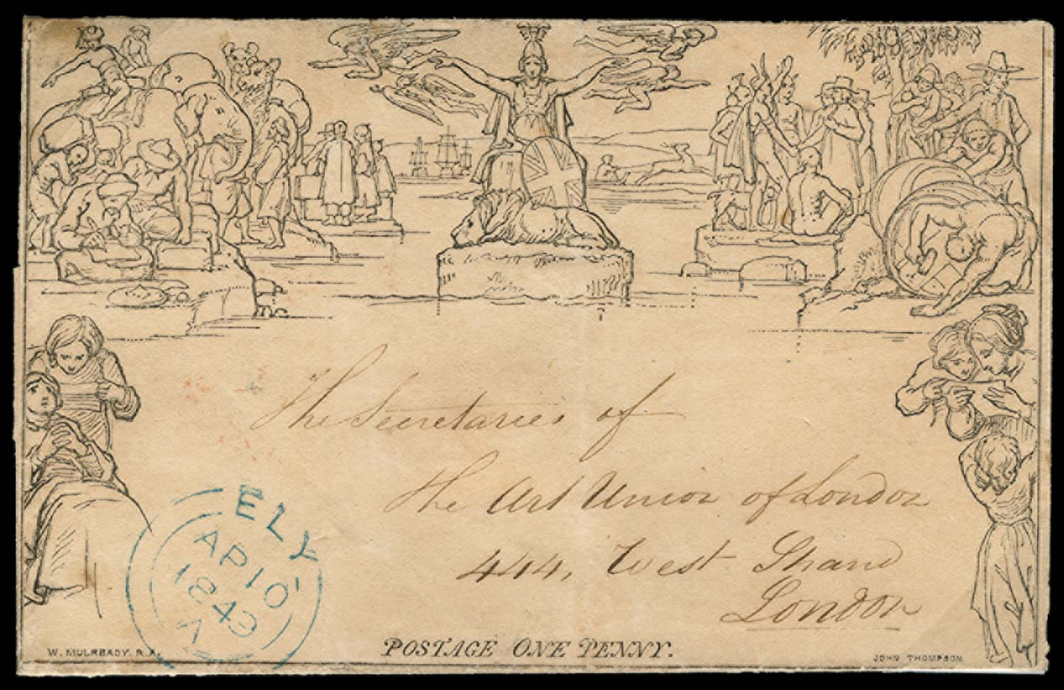 GB 1849  SGME1var Cover Ely Town Datestamp