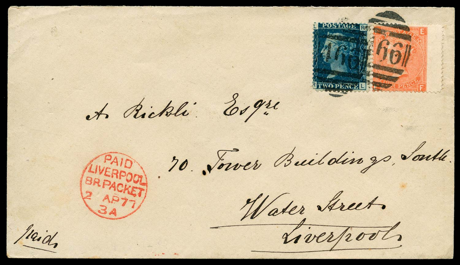 GB 1877  SG47, 94 Cover GB Used Abroad