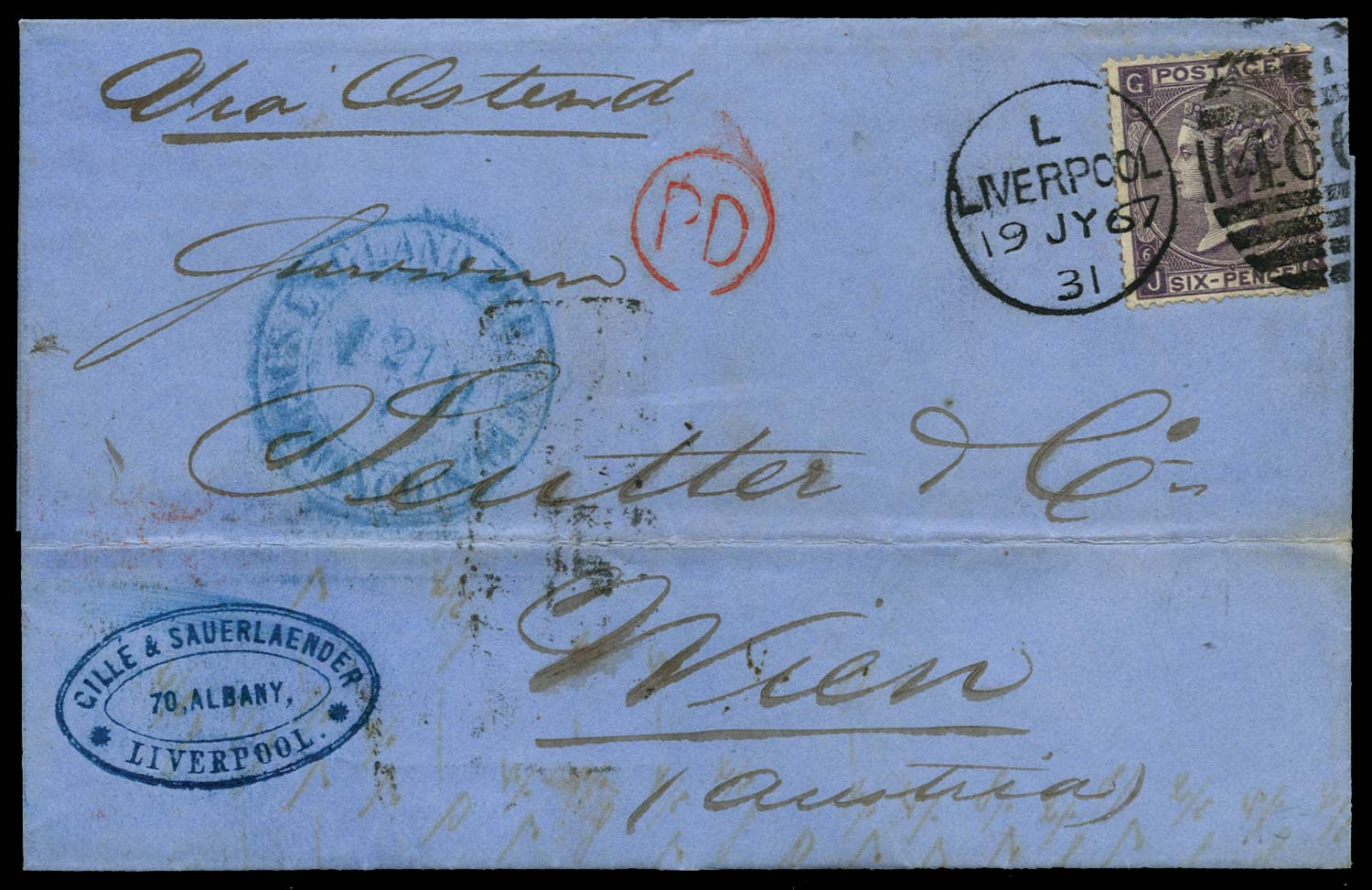 GB 1867  SG105 Pl.6 Cover Liverpool to Vienna