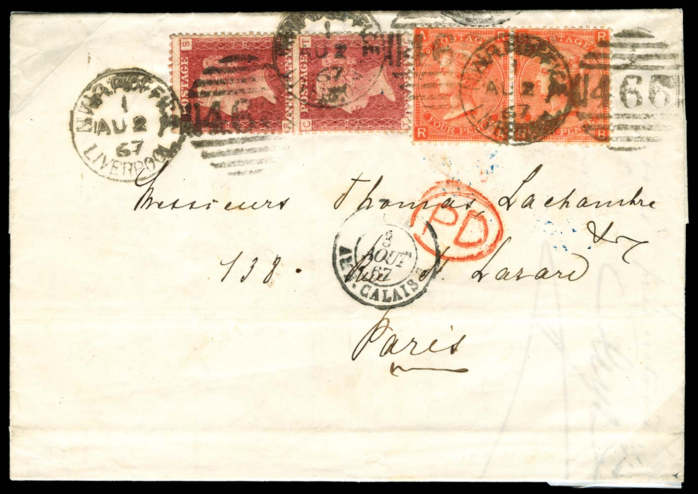 GB 1867  SG43, 94 Cover NWRP Office Liverpool
