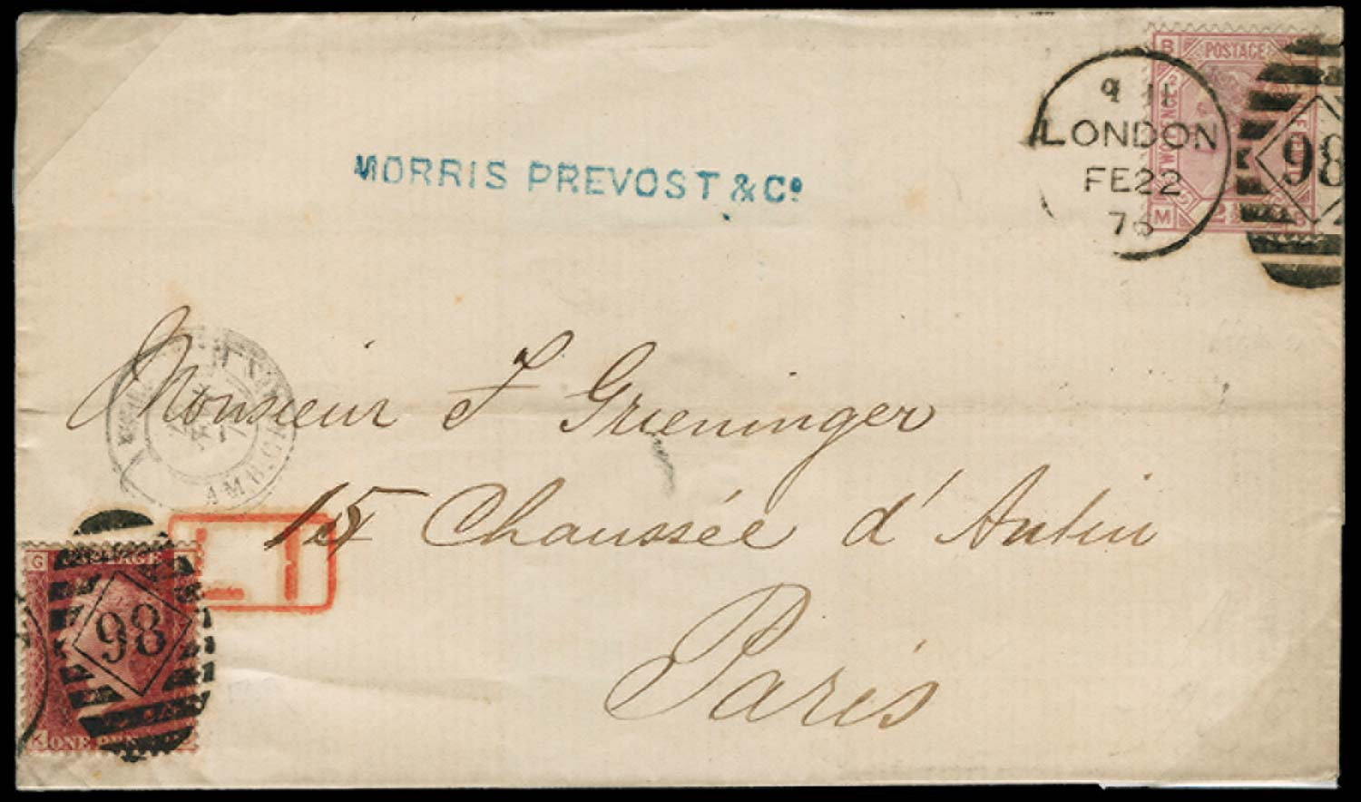 GB 1876  SG43, 139wi Cover to Paris with