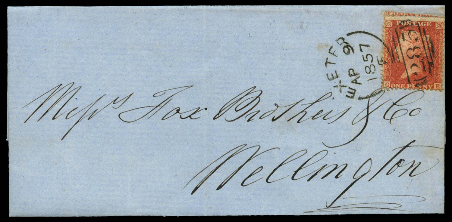GB 1857  SG38var Pl.34 Cover