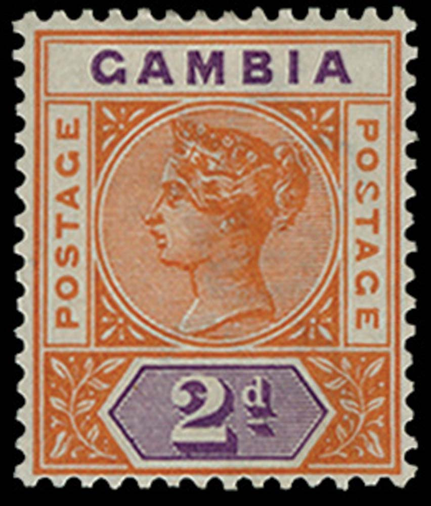 GAMBIA 1898-1902  SG39a Mint 2d orange and mauve variety Malformed S