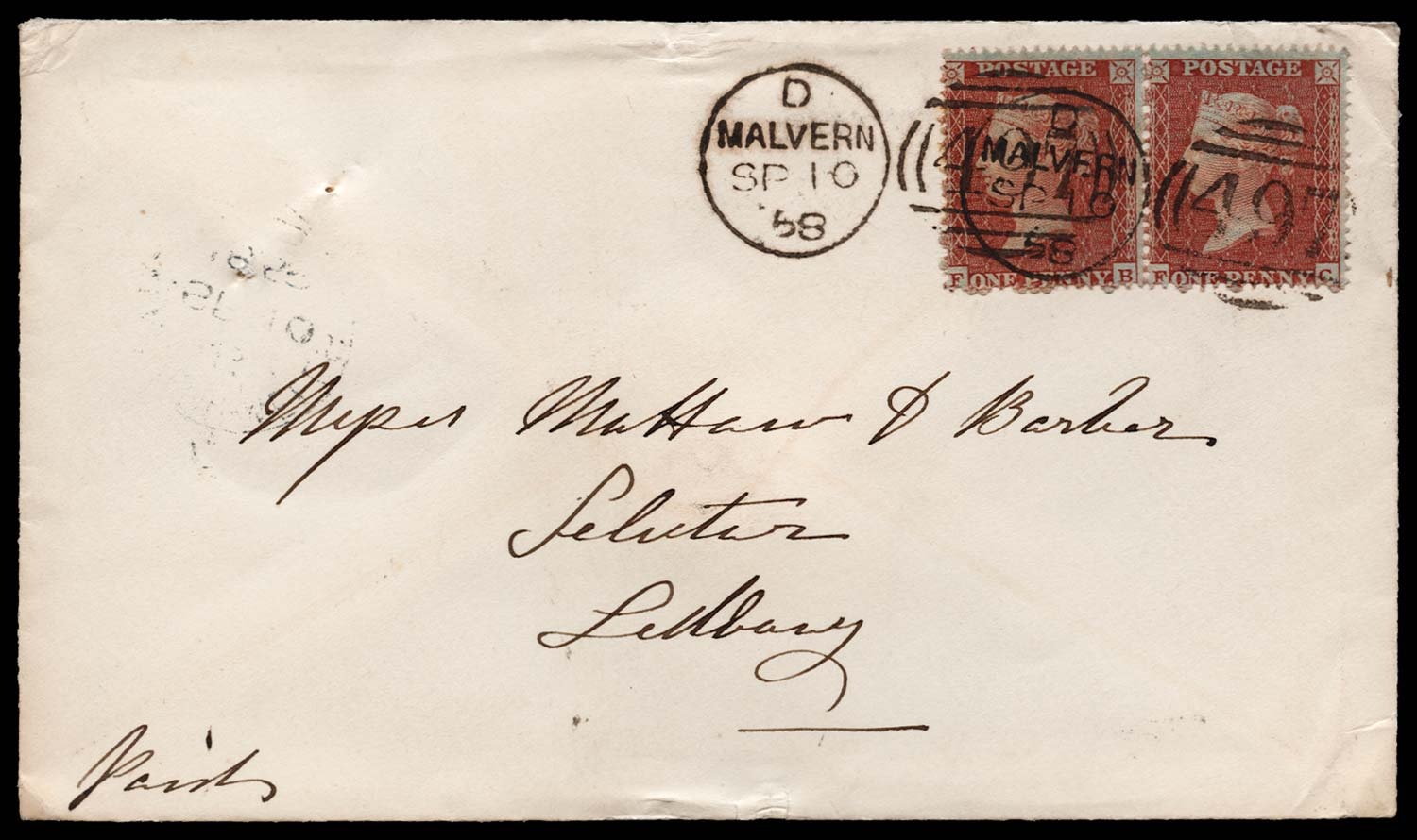 GB 1855  SG26 Pl.2 Cover