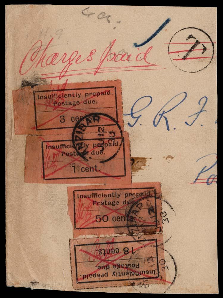 ZANZIBAR 1930  SGD1,3,9,16 Postage Due