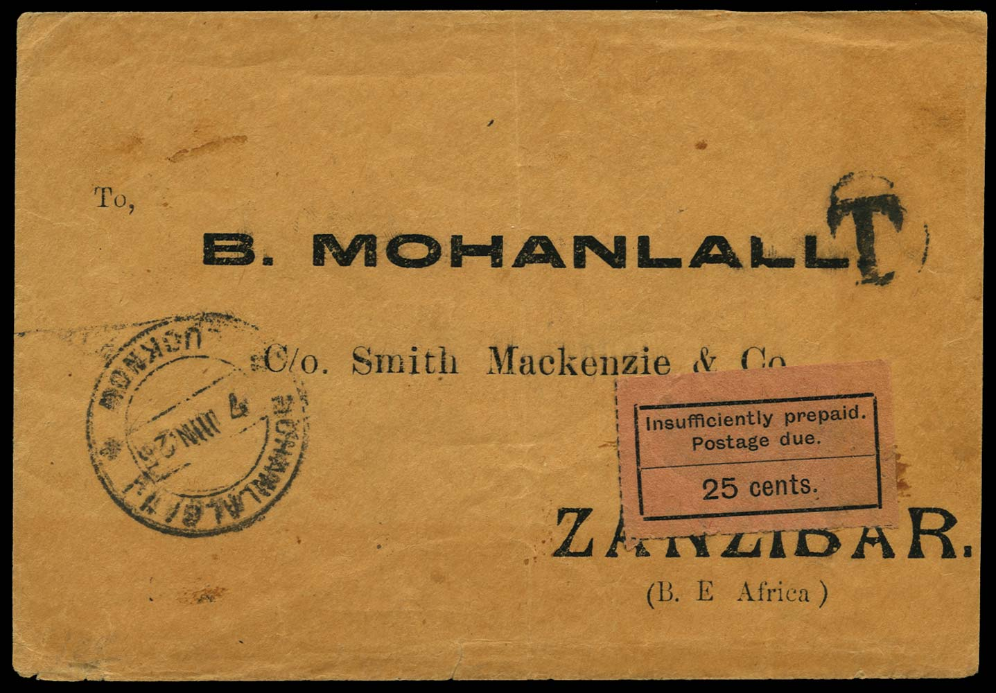 ZANZIBAR 1926  SGD13 Cover