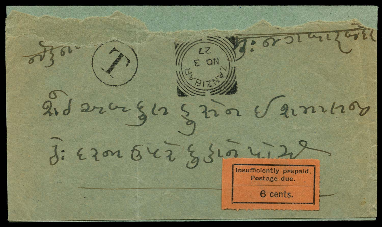 ZANZIBAR 1927  SGD4 Cover