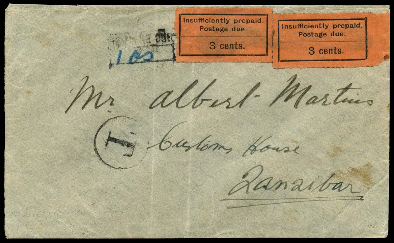 ZANZIBAR 1929  SGD3 Cover