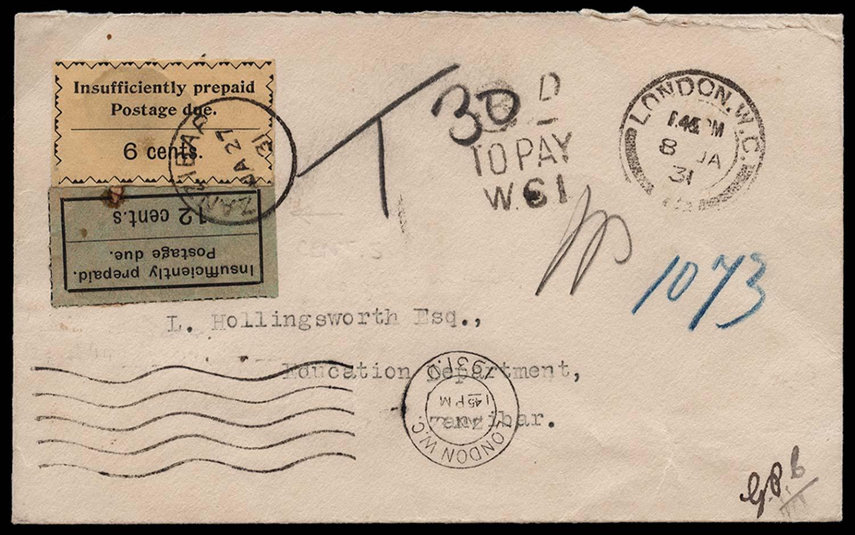 ZANZIBAR 1931  SGD7a, 21 Cover