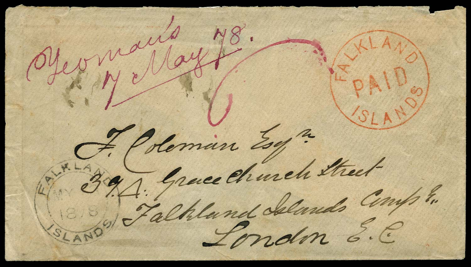 FALKLAND ISLANDS 1878  SGFR2 Cover