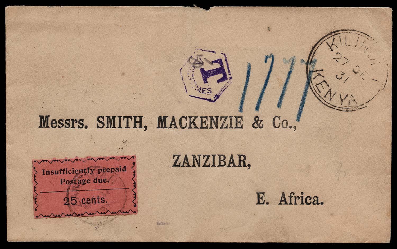 ZANZIBAR 1931  SGD23 Cover
