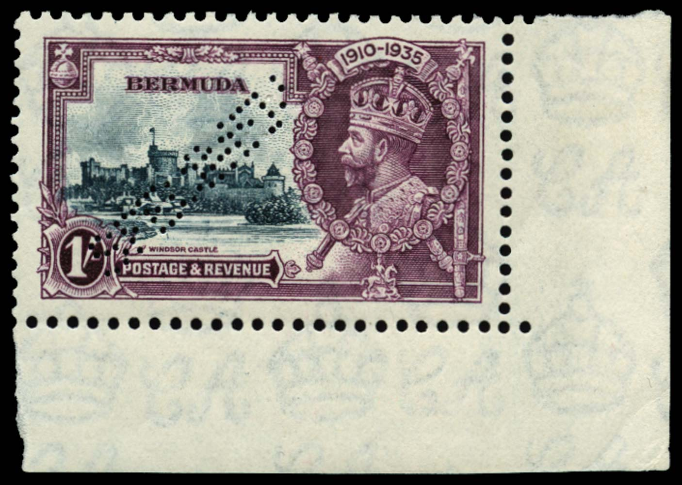 BERMUDA 1935  SG97ks Specimen Silver Jubilee 1s Kite and vertical log unmounted