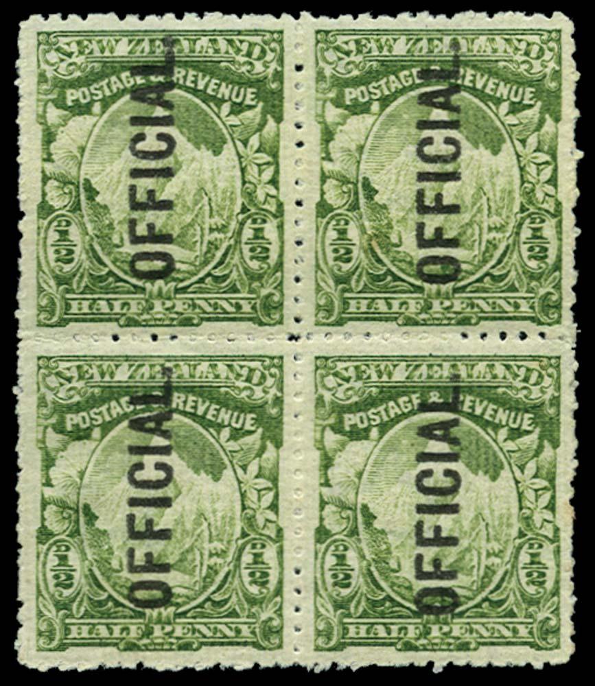 NEW ZEALAND 1907-11  SGO59 Official