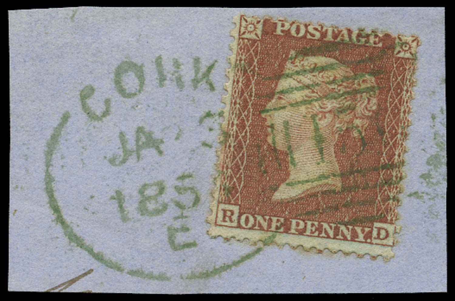 GB 1855  SG29var Pl.9 Used with a green Cork spoon