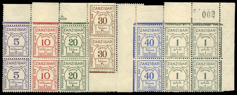 ZANZIBAR 1936-62  SGD25/30var Postage Due