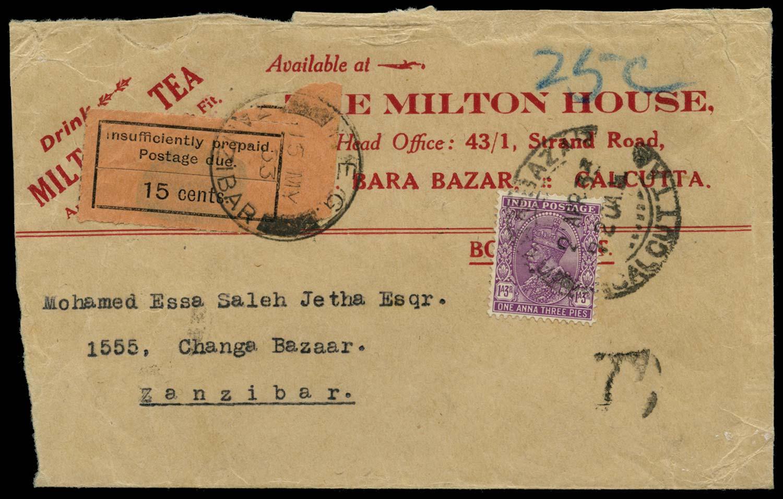 ZANZIBAR 1933  SGD8 Cover