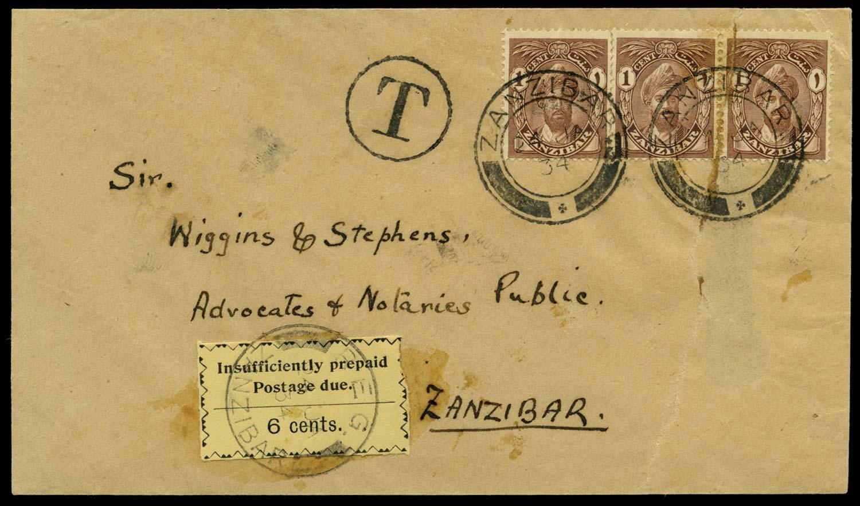 ZANZIBAR 1934  SGD21 Cover
