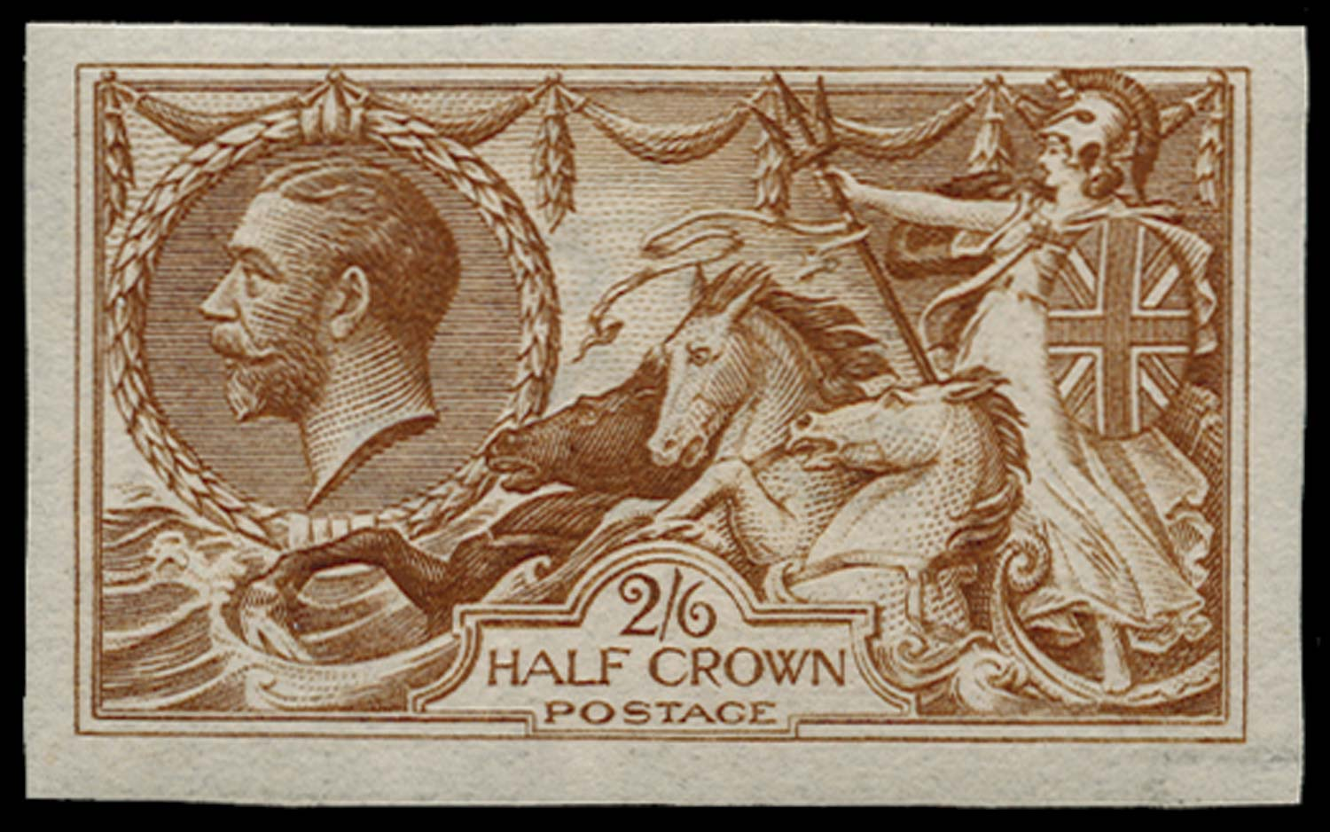 GB 1915  SG406var Colour Trial Imperforate in yellow-brown