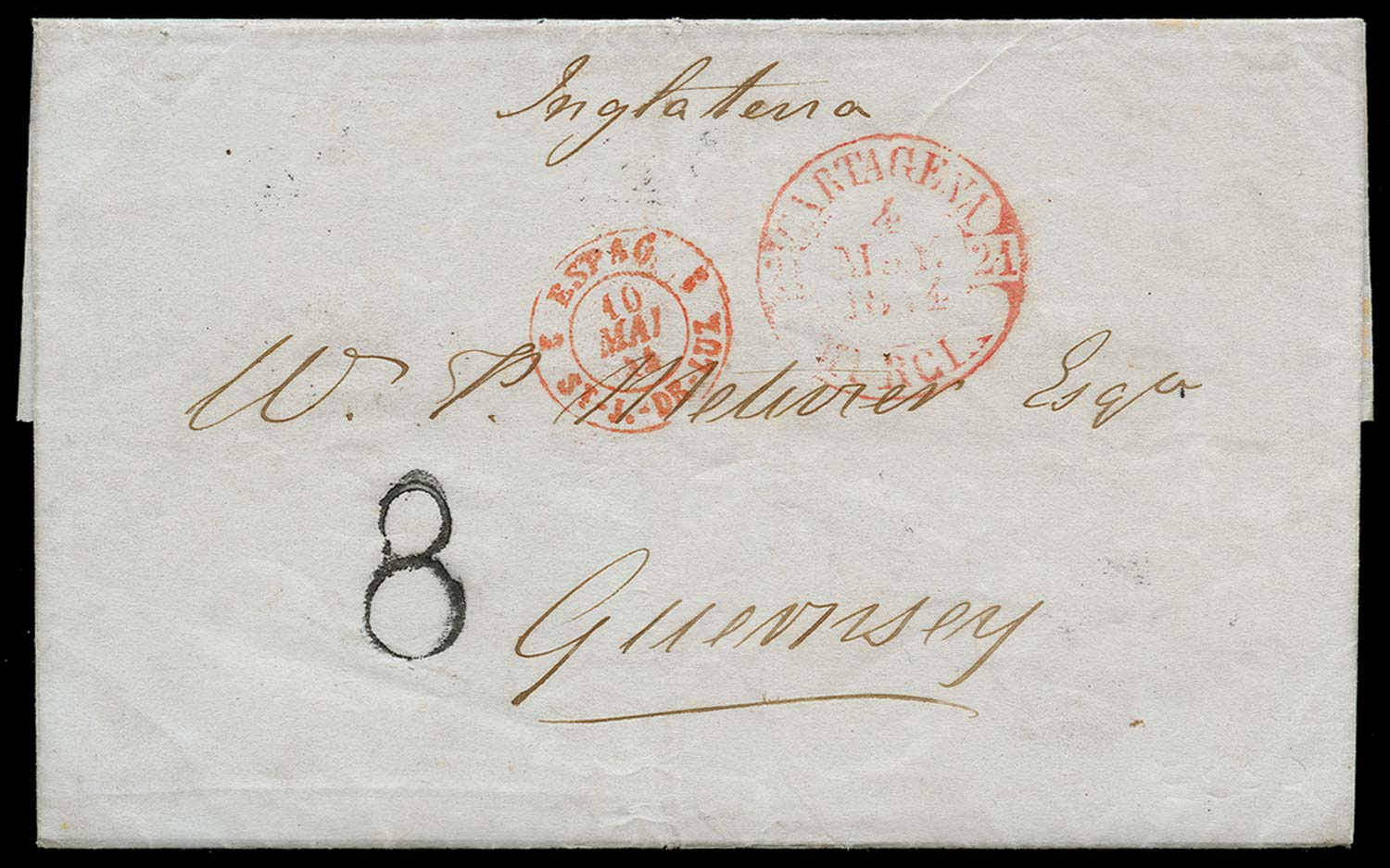 GB 1844  SGGC16 Cover with Guernsey handstruck