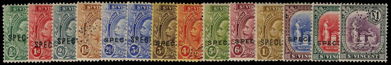 ST VINCENT 1921  SG131s/41s Specimen