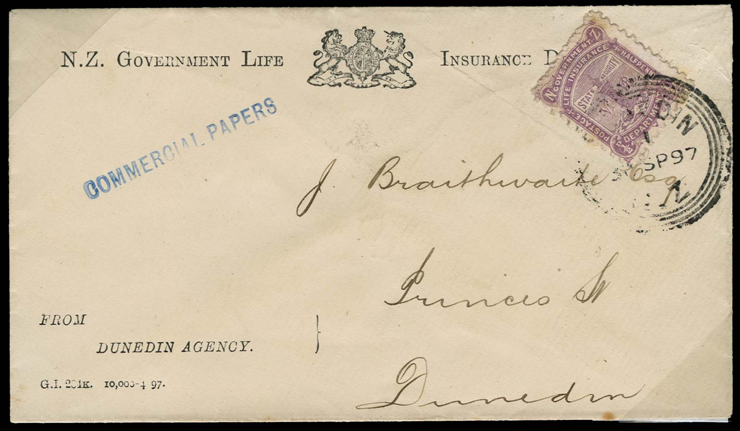 NEW ZEALAND 1897  SGL7 Cover