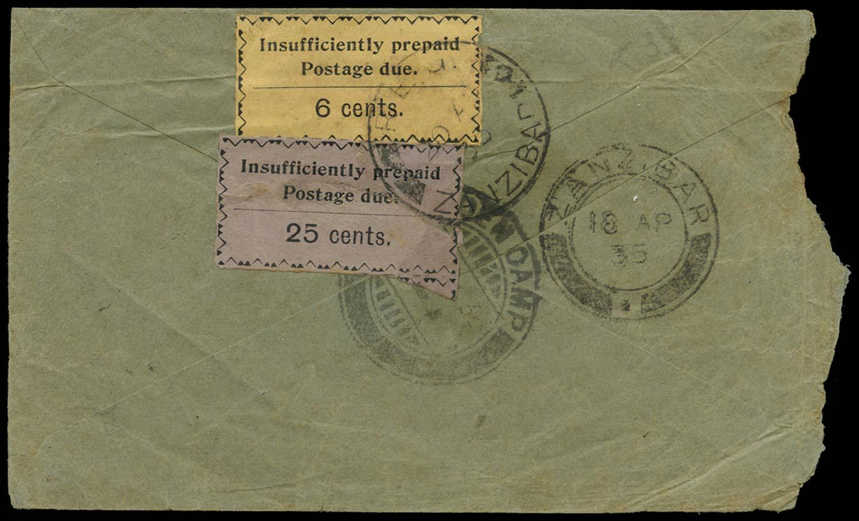 ZANZIBAR 1935  SGD21, 24 Cover