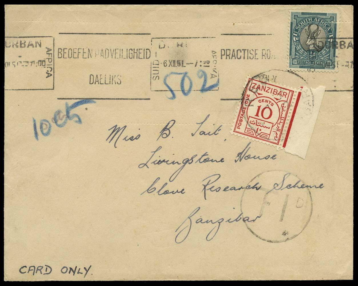 ZANZIBAR 1951  SGD26 Cover