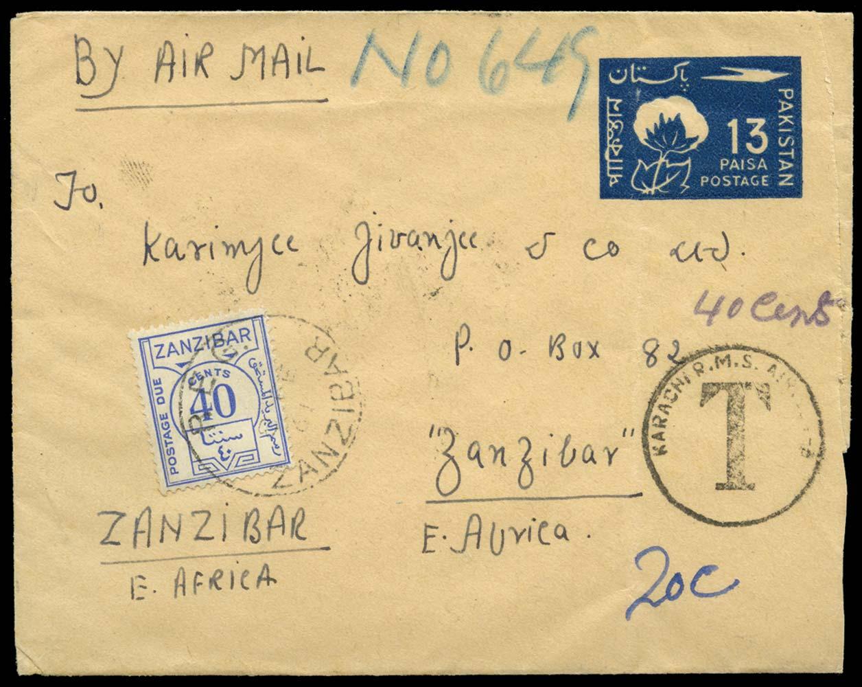 ZANZIBAR 1961  SGD29 Cover