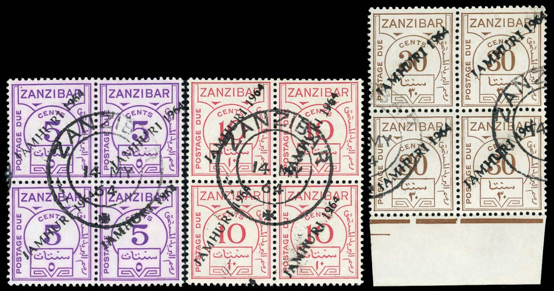 ZANZIBAR 1964  SGD25a/8a var Postage Due