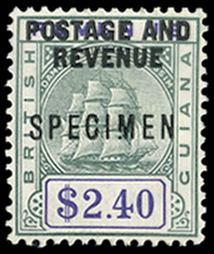 BRITISH GUIANA 1905  SG251s var Specimen $2.40 green and violet Ship variety Broken M