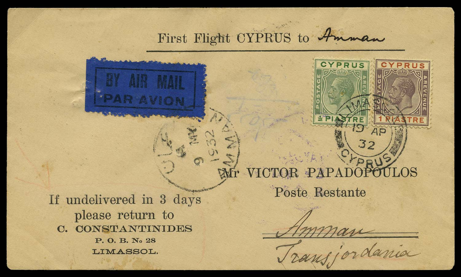 CYPRUS 1932  SG106,118 Cover