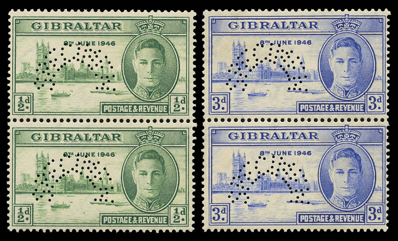 GIBRALTAR 1946  SG132s/3s Specimen