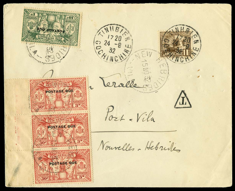 NEW HEBRIDES 1932  SGD1,3 Cover