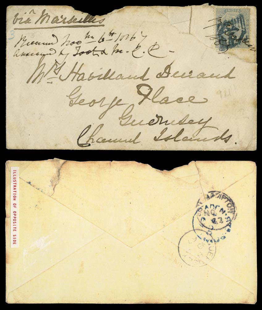 ADEN 1867  SGZ39 Cover 6a8p slate solo usage with blue 124 numeral