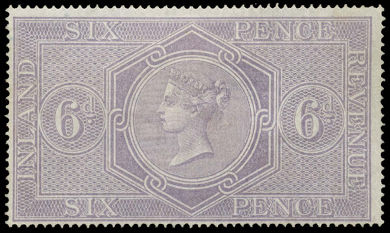 GB 1867  SGF17 Postal Fiscal - Wmk. Anchor (18mm)