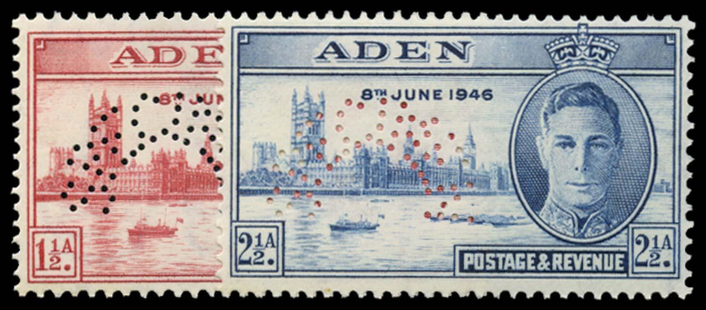 ADEN 1946  SG28s/29s Specimen Victory pair unmounted mint